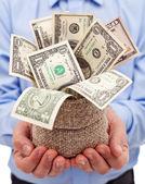 Incentivos para el empresario - bolsa llena de billetes de dólar — Foto de Stock