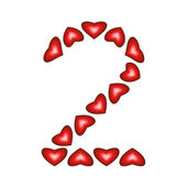 Number 2 made of hearts — Stock Vector