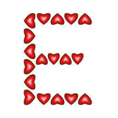 Letter E made of hearts — Stock Vector