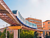 Moscow cityscape with monorail train — Stock Photo