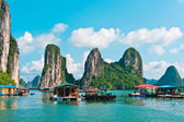 Floating village and rock islands — Stock Photo