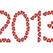 Happy New Year 2013 made from hearts — Stock Vector