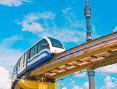Cityscape with TV tower and monorail train — Stock Photo