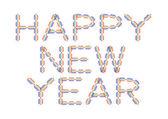 Felice anno nuovo in colori di arcobaleno — Vettoriale Stock