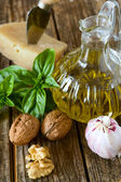 Ingredients for pesto with walnuts — Stock Photo