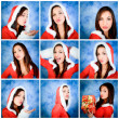 Collage christmas girl expression — Stock Photo