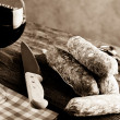 Italian salami and red wine — Stock Photo