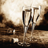 Celebrate with sparkling wine — Stock Photo