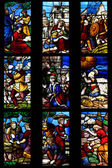 Milan,Lombardy,Italy-april 07 2014: Duomo Milan glass window — Stock Photo