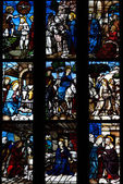 Milan,Lombardy,Italy-april 07 2014: Duomo Milan glass window — Foto Stock