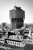 "Milan, Lombardy, Italy - april 24 2014: Milan city building ""Torre Velasca"" (Velasca tower) view from Duomo roof terrace — Foto Stock"