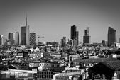 Milan, Lombardy, Italy - april 24 2014: Milan city skyline Unicredit Bank skyscraper and financial district piazza Gae Aulenti, view from Duomo roof terrace — Stock Photo