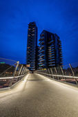 MILAN, ITALY, JUNE 18 2014: new Porta Nuova residential district, night scene Milan june 18 2014 — Stock Photo