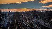 Railroad to Milan city at dusk — Stock Photo