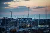 Sorting rail at dusk — Стоковое фото