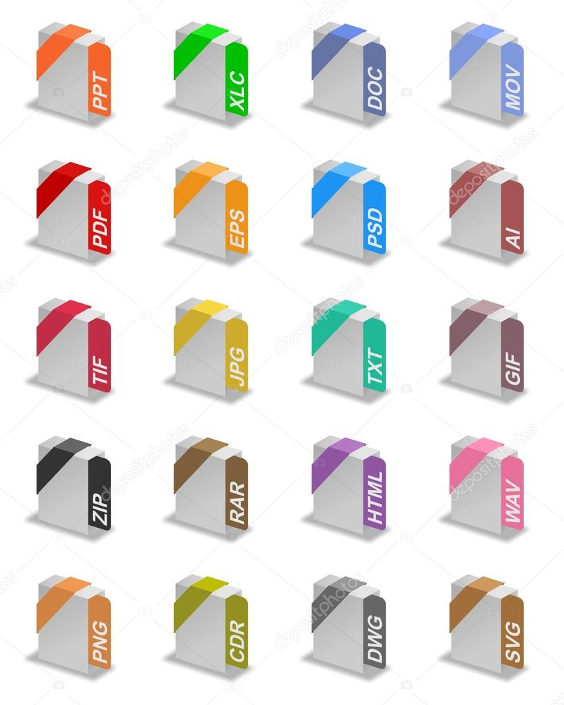 An illustration of different file formats — Stock Photo #16997377