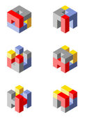Cubical icons made with blocks — Stock Photo