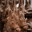Clay molded horses — Stock Photo