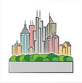 Icona colorata città — Foto Stock