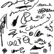 Unreadable and unrecognizable scribbles set — Stock Vector