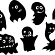 Set of funny ghosts silhouettes — Stock Vector