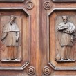 Wooden Portal with Saints — Stock Photo