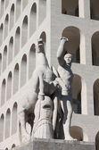 Equestrian statue at Squared Colosseum — Stock Photo