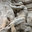 Marble Fountain in Navona Square of Rome - Stock Photo