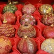 Handicraft christmas baubles — Stock Photo