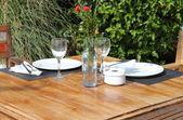 Table setting in a garden — Stock Photo