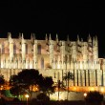 Palma de Mallorca cathedral by night — Stock Photo