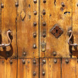 Ancient wood front door — Stock Photo