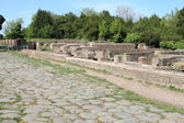 Old roman stony street at Ostia Antica — Stock Photo