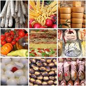Italian food collage — Stock Photo