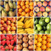Fresh fruits collage — Stock Photo