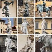 Collage of statues in Florence — Stock Photo