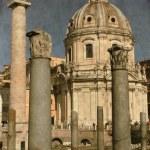 Trajan column and Ulpia Basilica - Vintage — Stock Photo