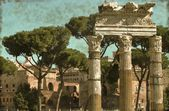 Ancient columns in Rome - Vintage — Stock Photo