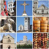 Assisi landmarks collage — Stockfoto