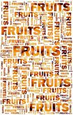 Fruits text with oranges — Stock Photo