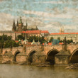 Charles Bridge in Prague - Vintage — Stock Photo