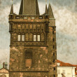 Tower on Charles Bridge - Vintage — Stock Photo