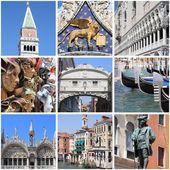 Venice landmarks collage — Stok fotoğraf