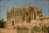 Palma de Mallorca cathedral - Vintage — Stock Photo