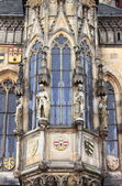 Prague Town Hall window with sculptures — Stockfoto