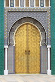 Golded door of Royal Palace in Fes — Stock Photo