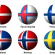 Collage of Scandinaviflags with labels — Stock Photo #30049759
