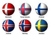 Collage of Scandinavian flags with labels — Stock Photo