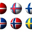 Stock Photo: Collage of Scandinaviflags