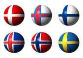 Collage of Scandinavian flags — Stock Photo